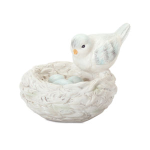 Blue and White Bird with Nest Figurine, Set of 2