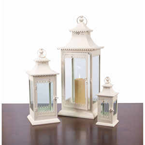 Cream Lantern, Set of Three