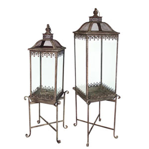 Gray Lantern with Stand, Set of Two