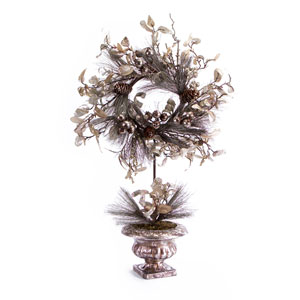 Champaign and Silver Potted Pine Wreath with Cones and Ribbon