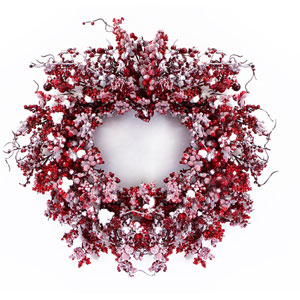 Red and White Mixed Berry Wreath with Snow
