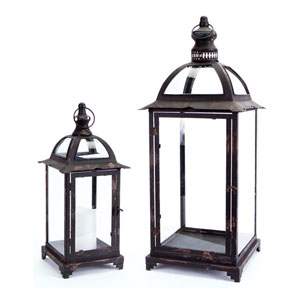 Black Lantern with Glass Set of Two