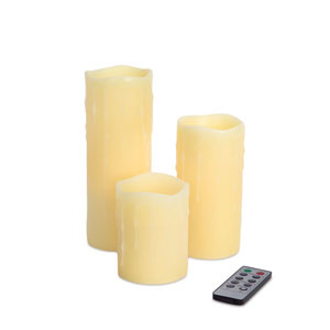 Ivory LED Remote Dripping Candles Set of Three