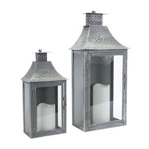 Antique and Gray Lantern, Set of Two