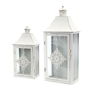Antique and White Lantern, Set of Two