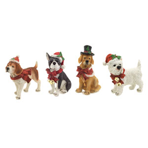 White, Brown and Red Dog Christmas Figurines, Set of Four