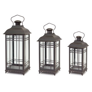 Black and Rust Lantern, Set of Three