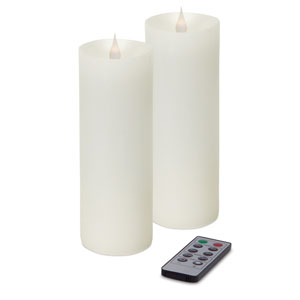 White Simplux LED Pillar Moving Flame Candle, Set of Two with Remote