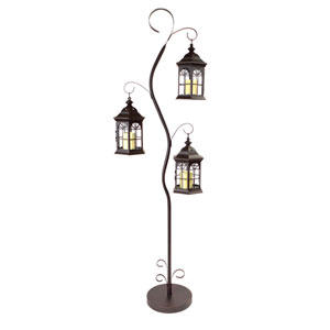 Black and Brown Lantern Tree with Three Lanterns