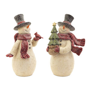Cream, Red and Black Snowman with Bird,Tree, Set of Two
