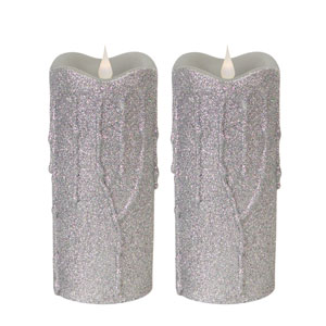 Silver Simplux LED Glittered Dripping Candle with Moving Flame, Set of Two