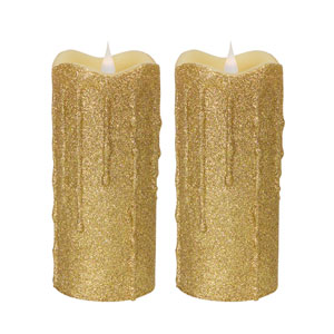 Gold Simplux LED Glittered Dripping Candle with Moving Flame, Set of Two