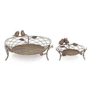 Bronze Baskets with Birds and Owls, Set of Two