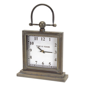 Gray Desk Clock with Handle