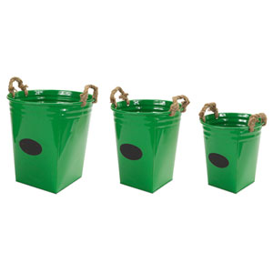 Green Buckets with Chalkboard and Rope Handles, Set of Three