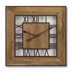 Natural and Rust Square Roman Numeral Wall Clock