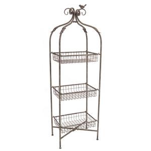 Gray Three Tier Basket Stand with Bird Detail