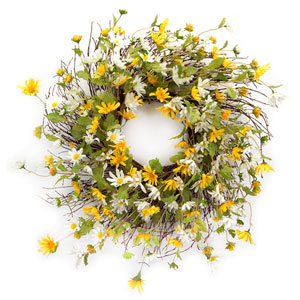 Yellow and White Daisy Wreath