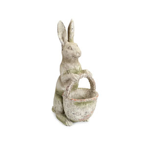 Gray and Green Rabbit Statue with Basket