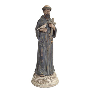 Gray and Black St. Francis Statue