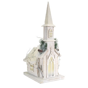 White Pre-Lit Wooden Church