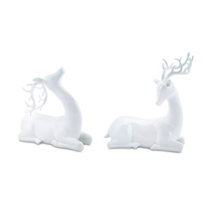 White Modern Deer, Set of Two