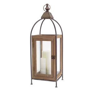 Natural and Black Wooden Lantern
