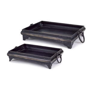 Black Decorative Tray, Set of Two
