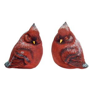 Red Snowy Cardinals, Set of Two