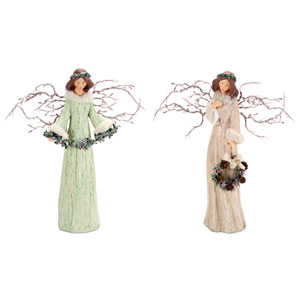 Beige and Mint Branch Angels, Set of Two