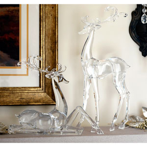 Clear Deer Figurines, Set of Two
