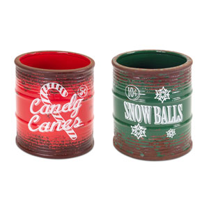 Green and Red Vintage Christmas Jars, Set of Two