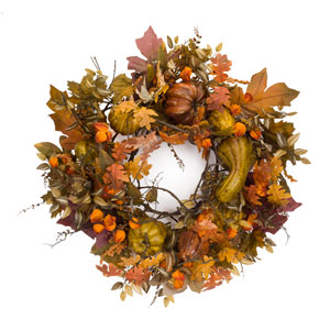 Orange and Multicolor Oversized Fall Wreath with Gourds and Berries
