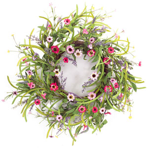 Green and Pink Wild Flower Bloom Wreath