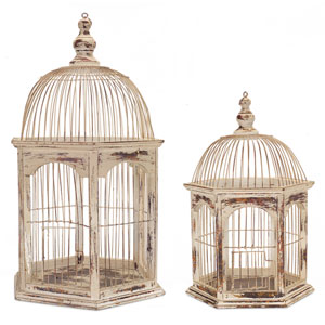 Cream and Rust Rustic Wire Birdcage, Set of Two