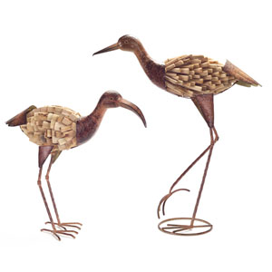 Natural and Rust Driftwood Flamingo and Crane, Set of Two