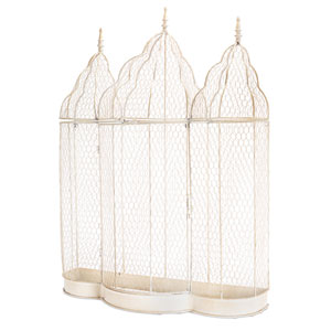 Ivory Chicken Wire Cage Wall Decor