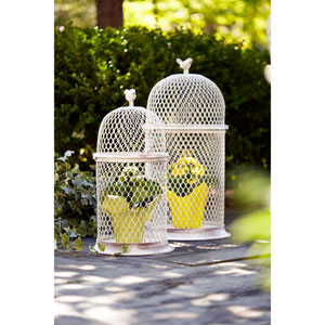 White and Gray Chicken Wire Bird Cage, Set of Two