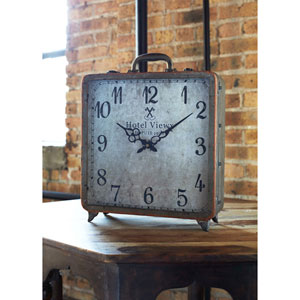 Gray and Copper Suitcase Table Clock