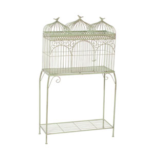 Mint and Rust Triple Cage with Stand
