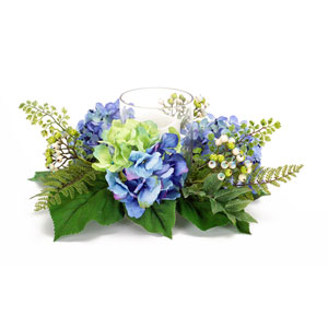 Blue and Green Hydrangea Berry Candle Ring Centerpiece