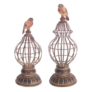 Brown and Rust Bird Table Finial, Set of Two