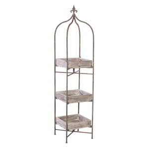 Gray Stand with Three Shelves