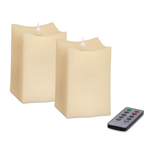 Ivory Simplux Squared Moving Flame Candle, Set of Two with Remote