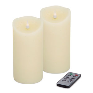 Ivory Simplux Designer Melted Candle, Set of Two with Remote