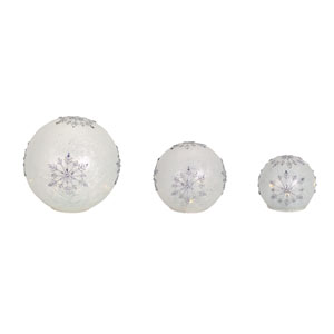 White and Silver LED Snowflake Globes, Set of Three