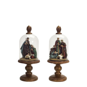 Bronze Nativity Set In Dome, Set of Two