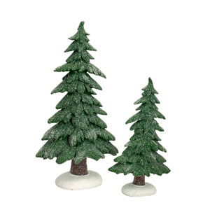 Green and White Frosted Trees, Set of Two