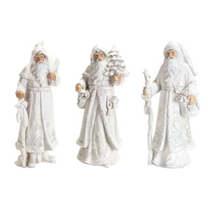 White Winter Santas, Set of Three