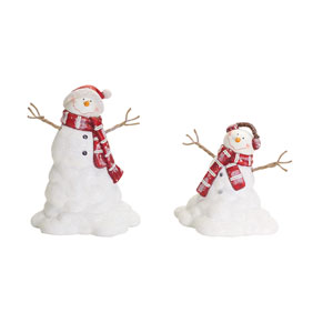 Red and White Melting Snowman, Set of Two